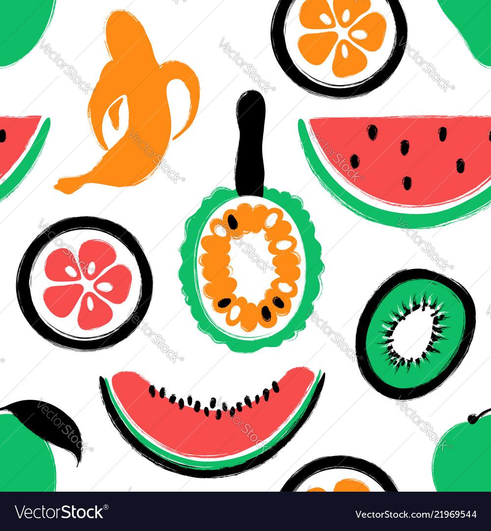 Brush grunge exotic fruits seamless pattern