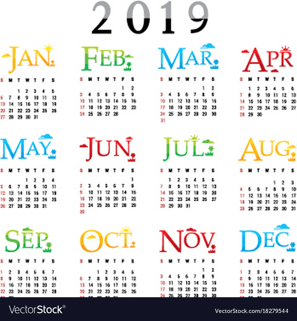 calendar planner happy new year 2019 royalty free vector