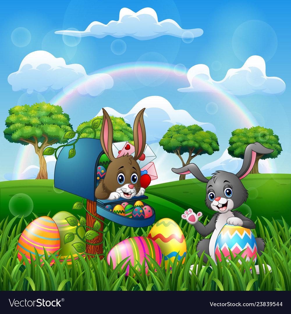 Cartoon happy easter with bunnies on the nature