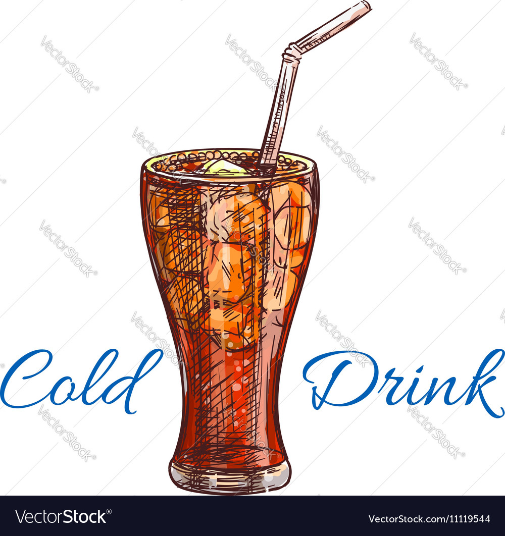 Cold soda drink with ice isolated sketch vector image