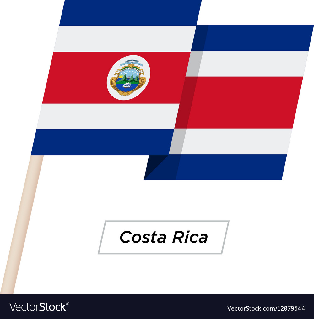 Costa Rica Ribbon Waving Flag Isolated on White