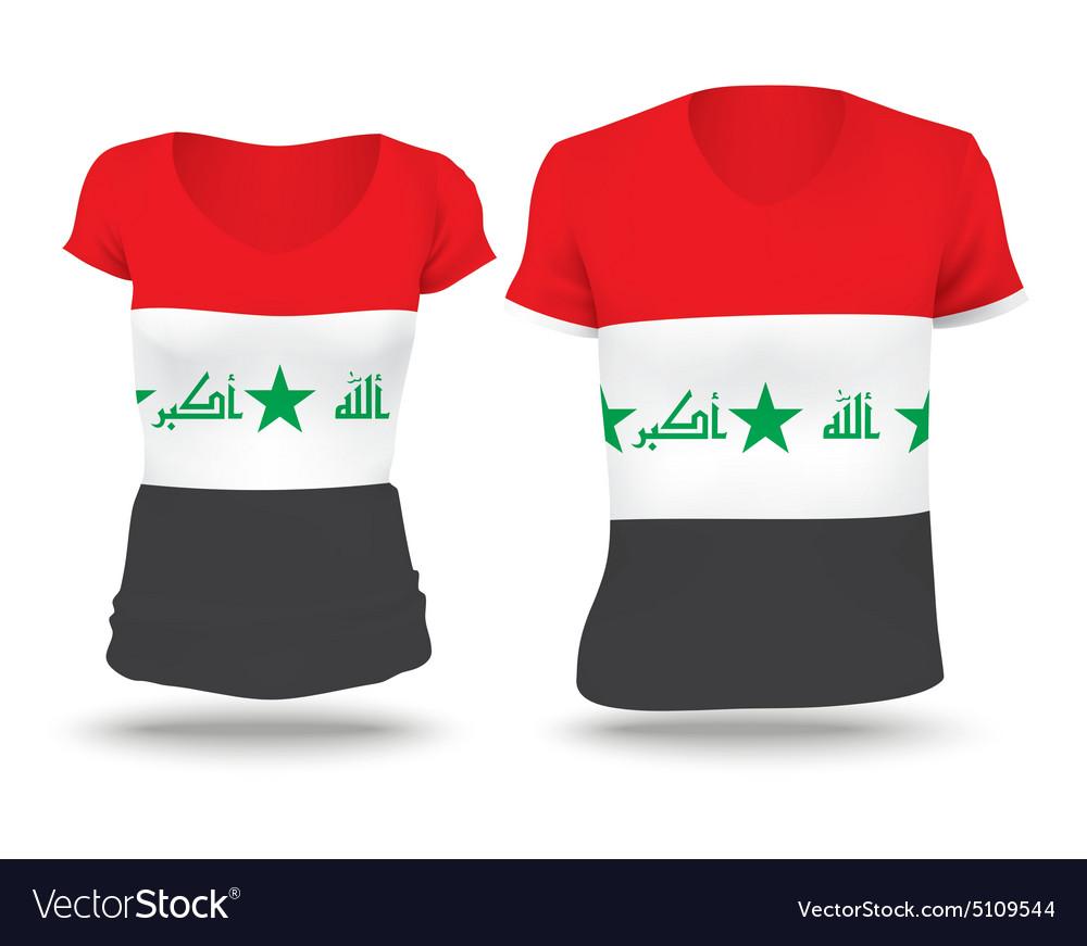 Flag shirt design of Iraq vector image