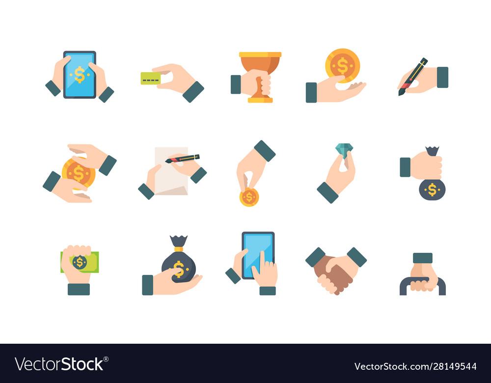 Hands holding business items money paper