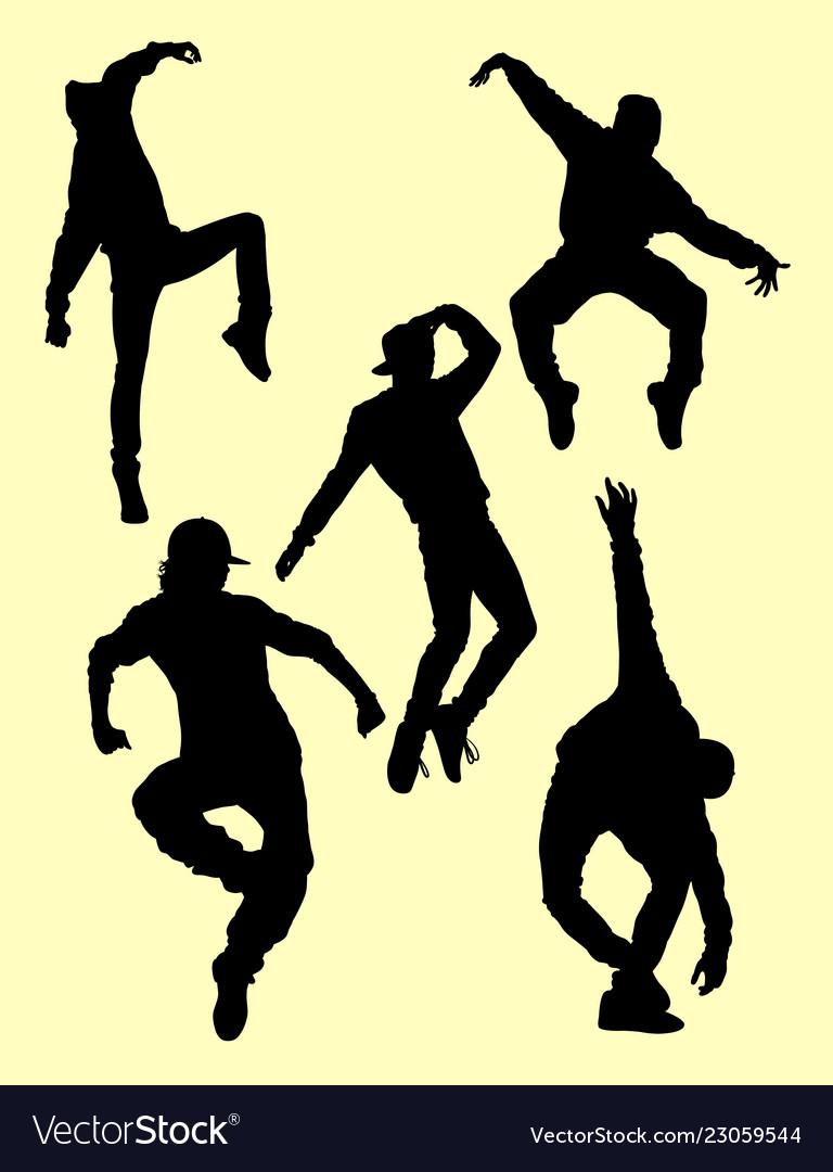 Hip hop dancers silhouettes