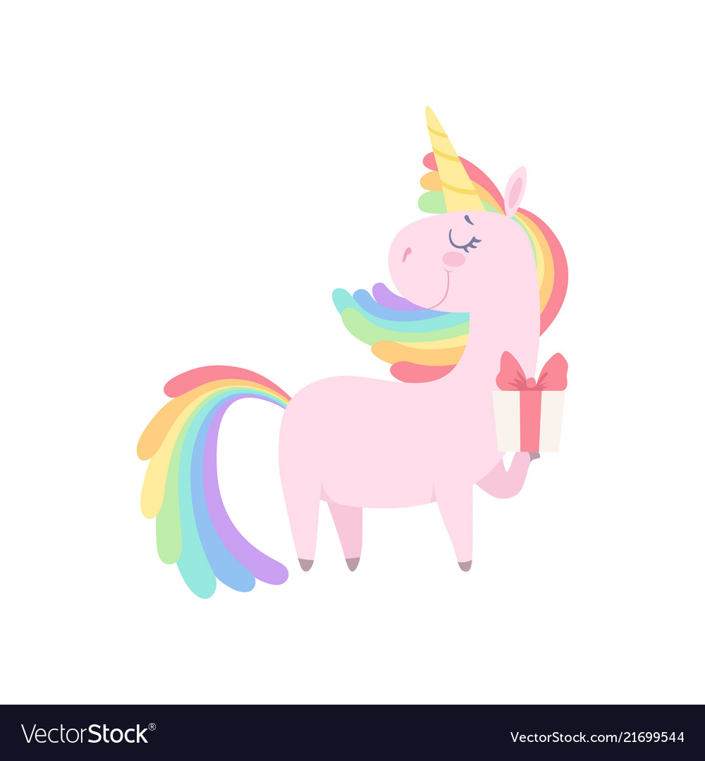 Lovely unicorn holding gift box cute fantasy