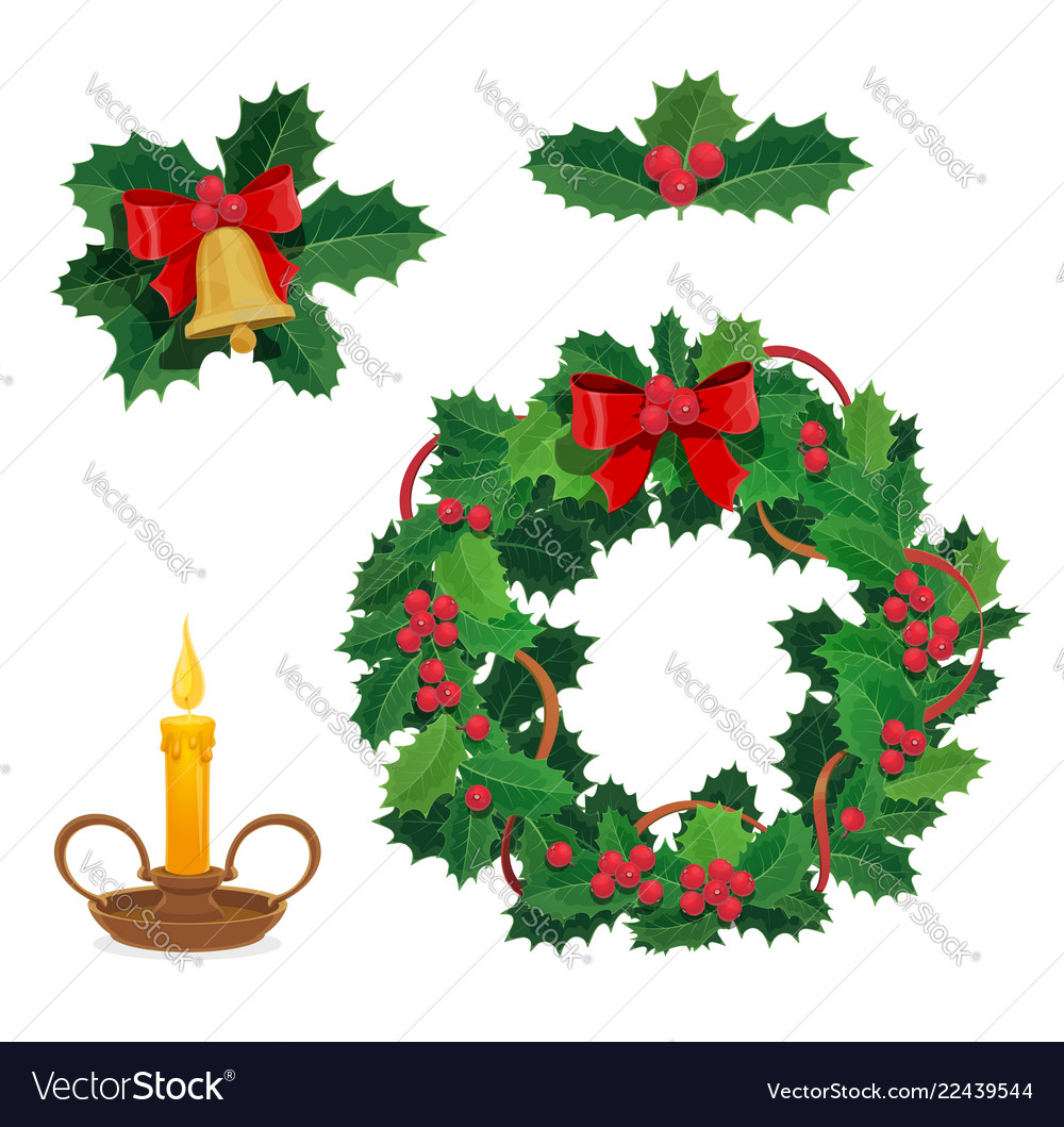 merry christmas decorations holly berry decor vector image