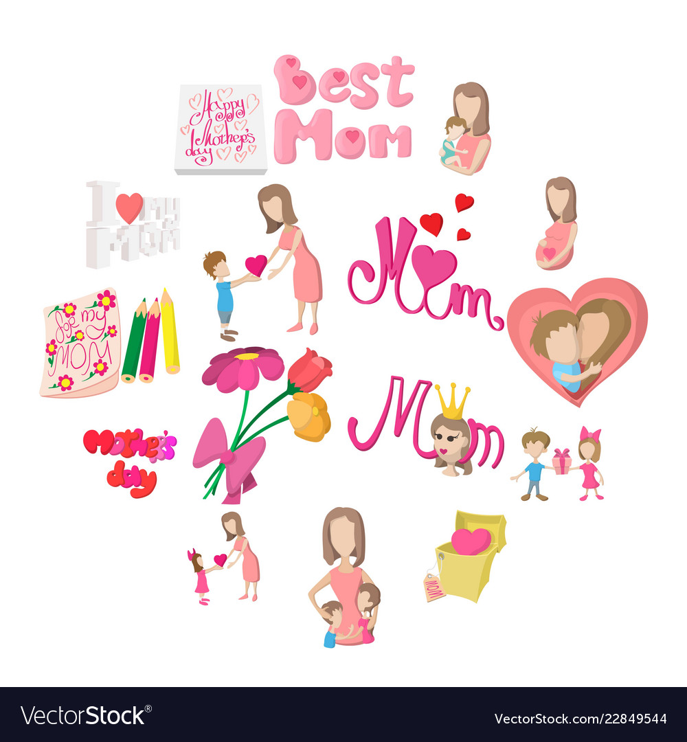 Mother day cartoon icons