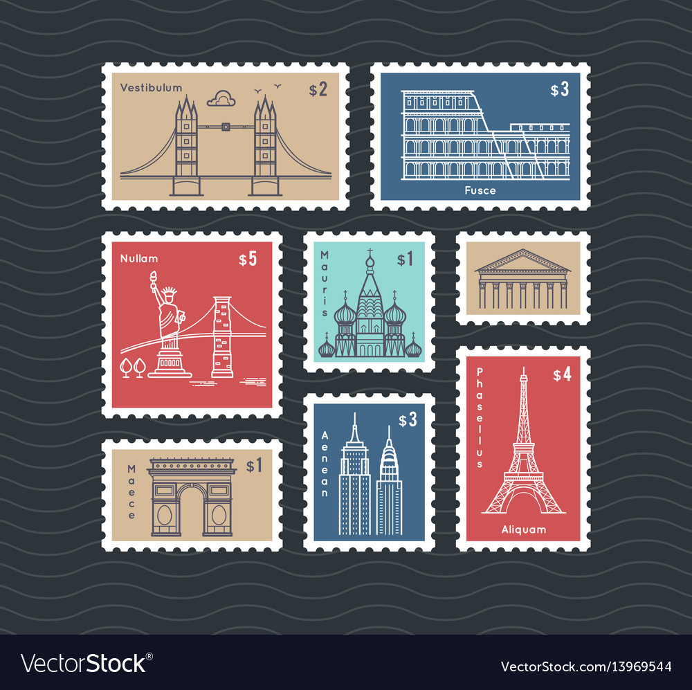 Postage stamps with line travelling city national