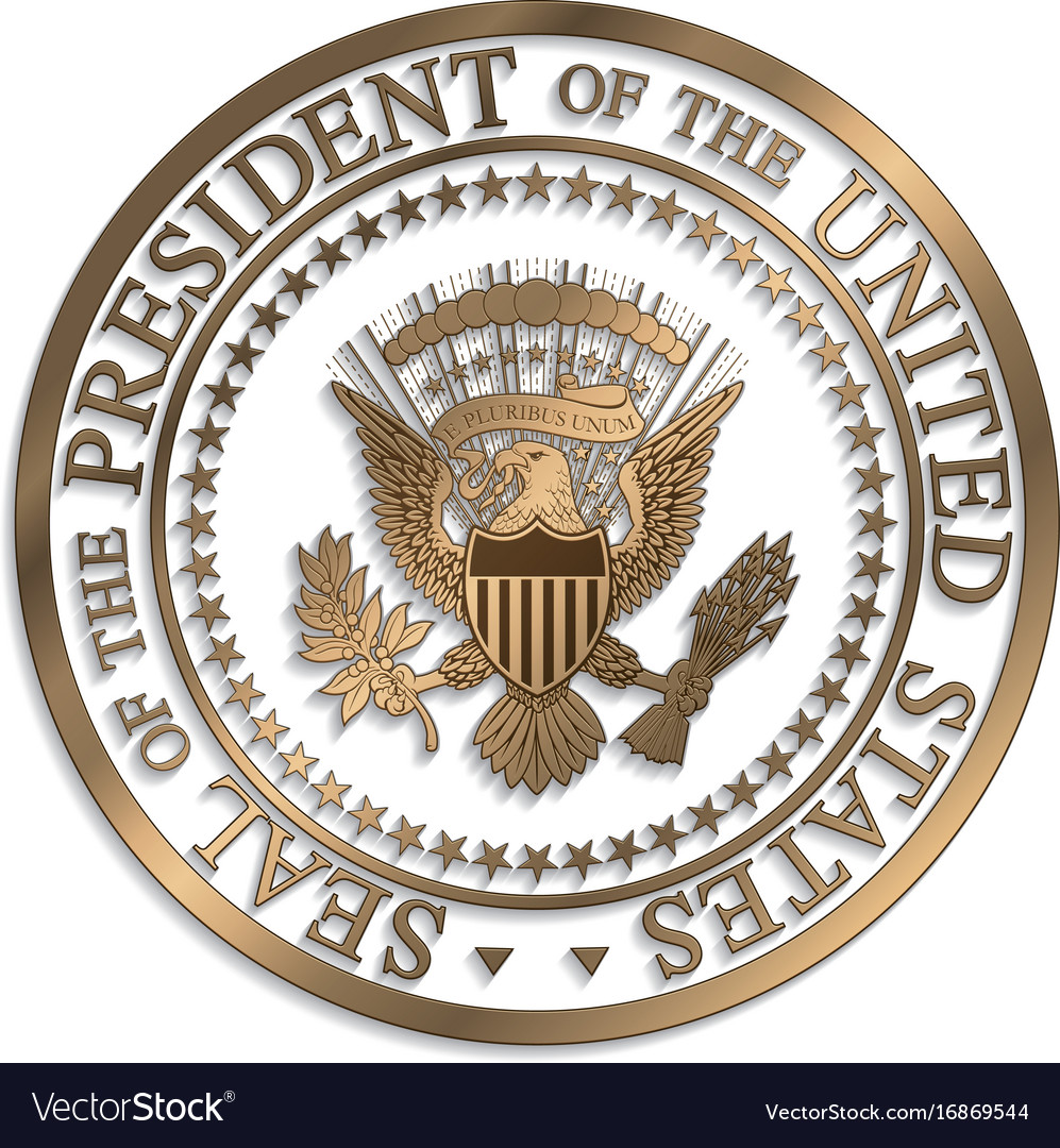 presidential seal gold against white ai vector image rh vectorstock com presidential seal vector logo HHS Logo Vector