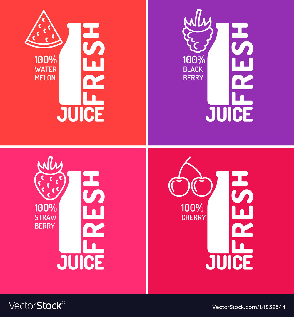 Set of posters fresh juice with blackberries vector image