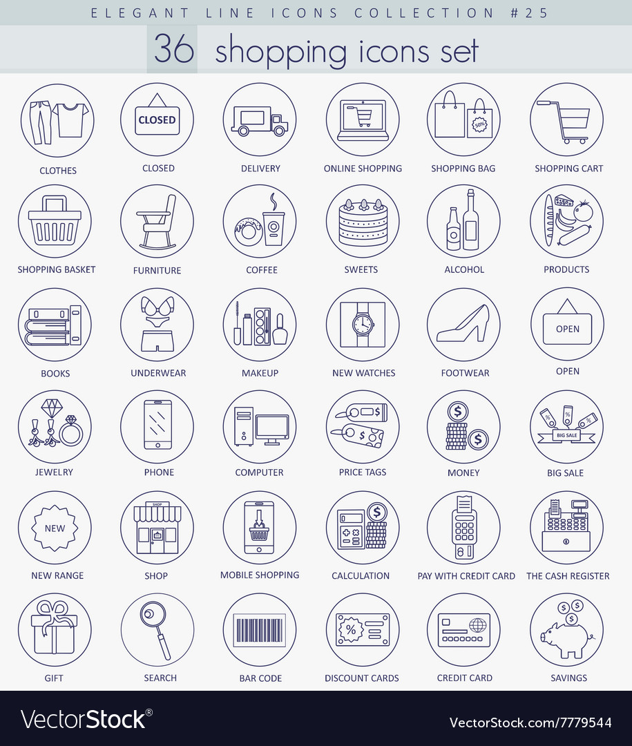 Shopping outline icon set Elegant thin