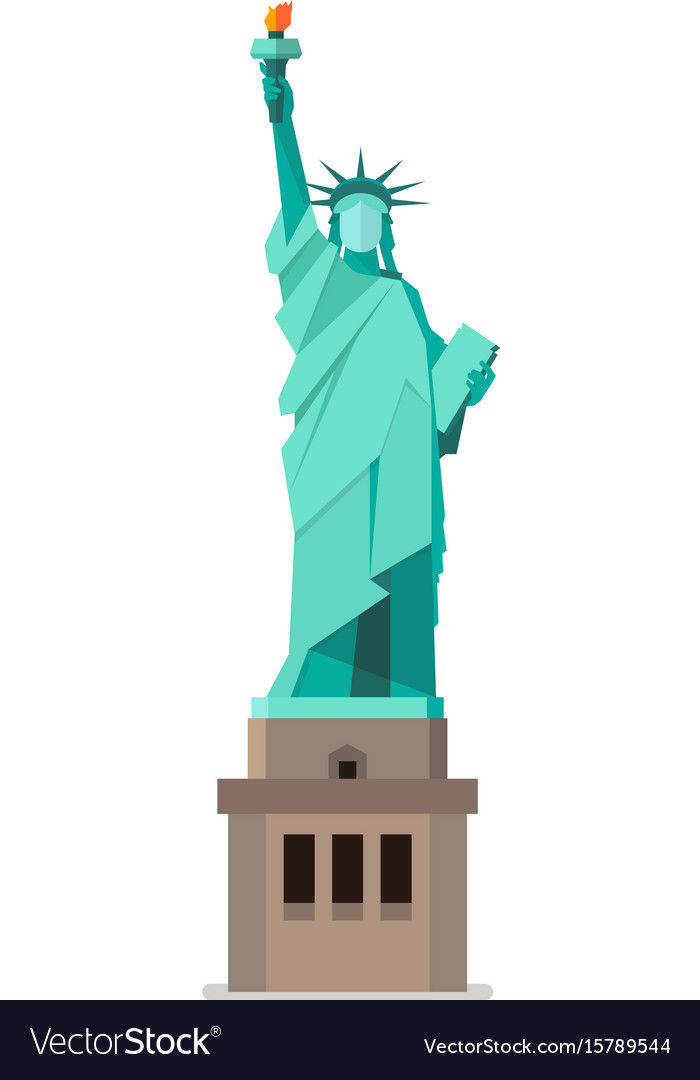 Statue of liberty in flat style