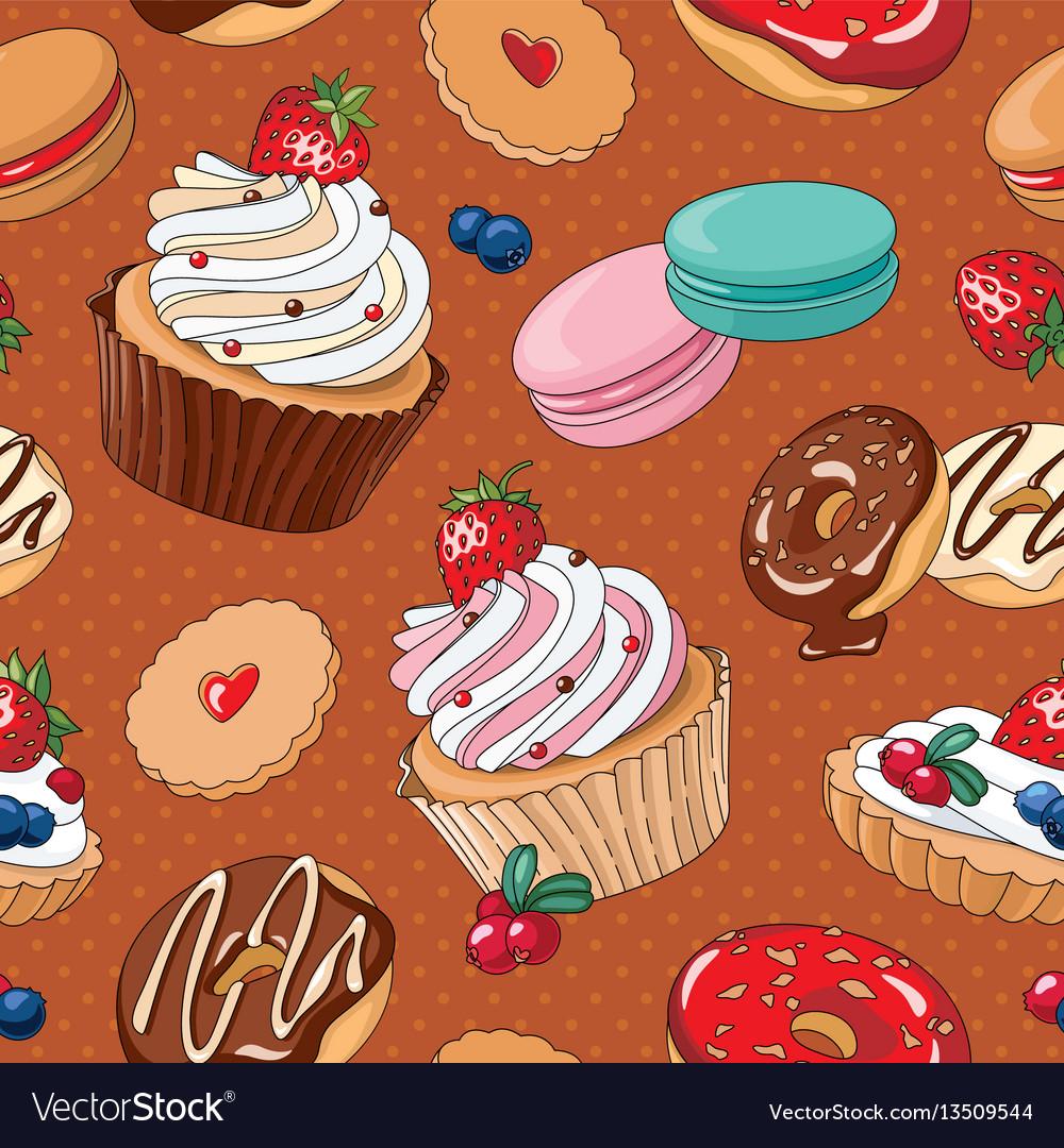 Sweet desserts seamless pattern