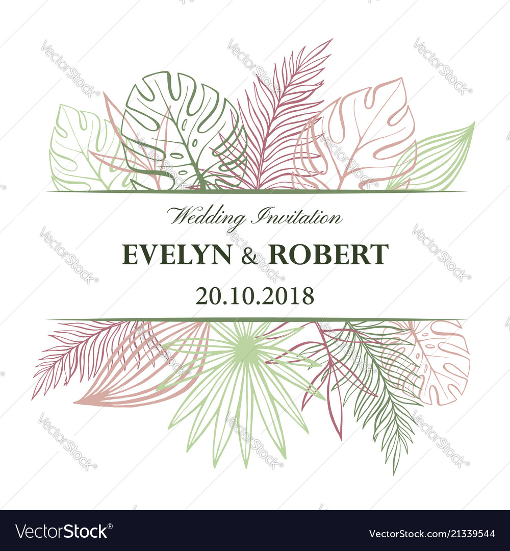Wedding Invitation Card In Pastel Colors Vector Image