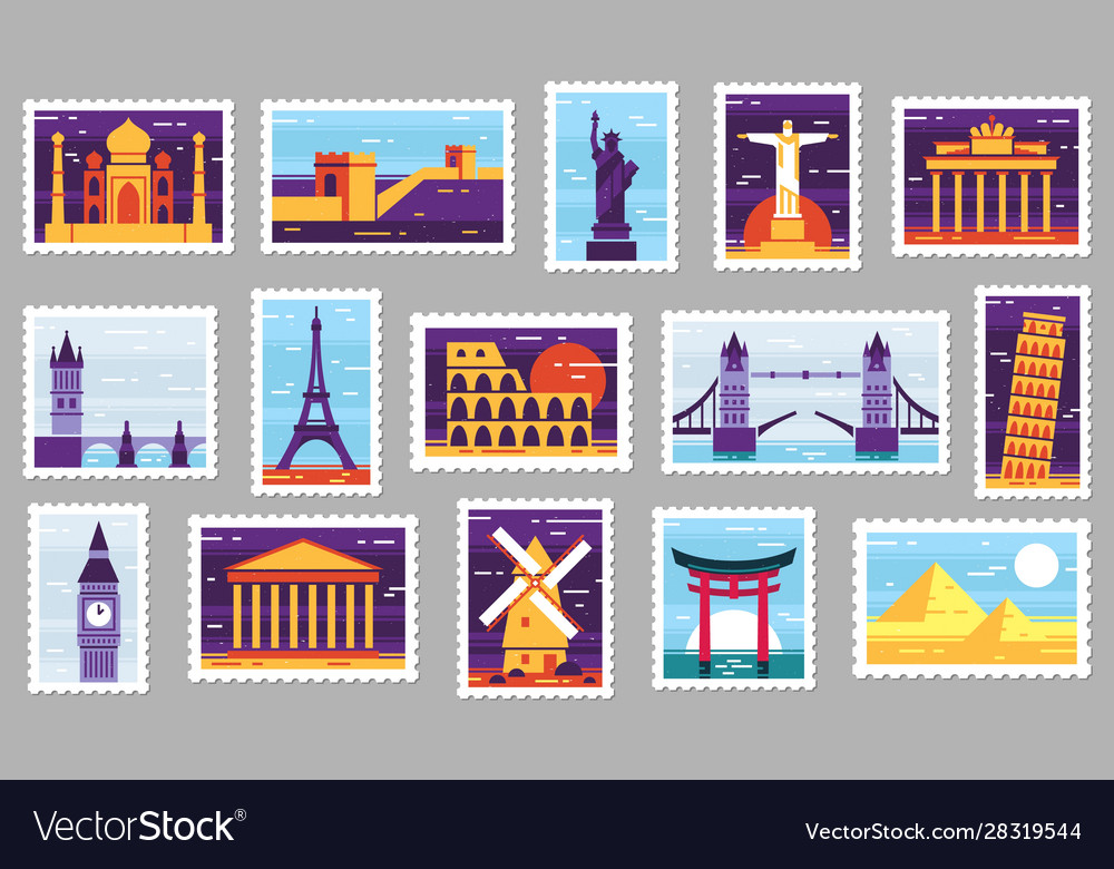 World cities post stamps travel postage stamp