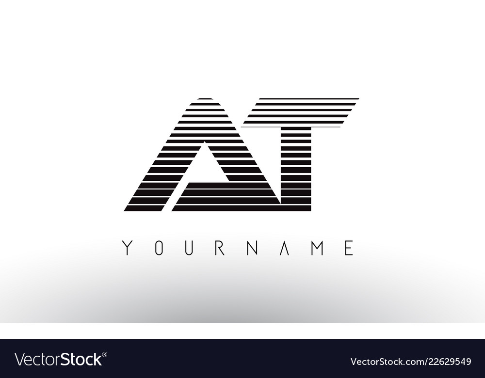 At black and white horizontal stripes letter logo