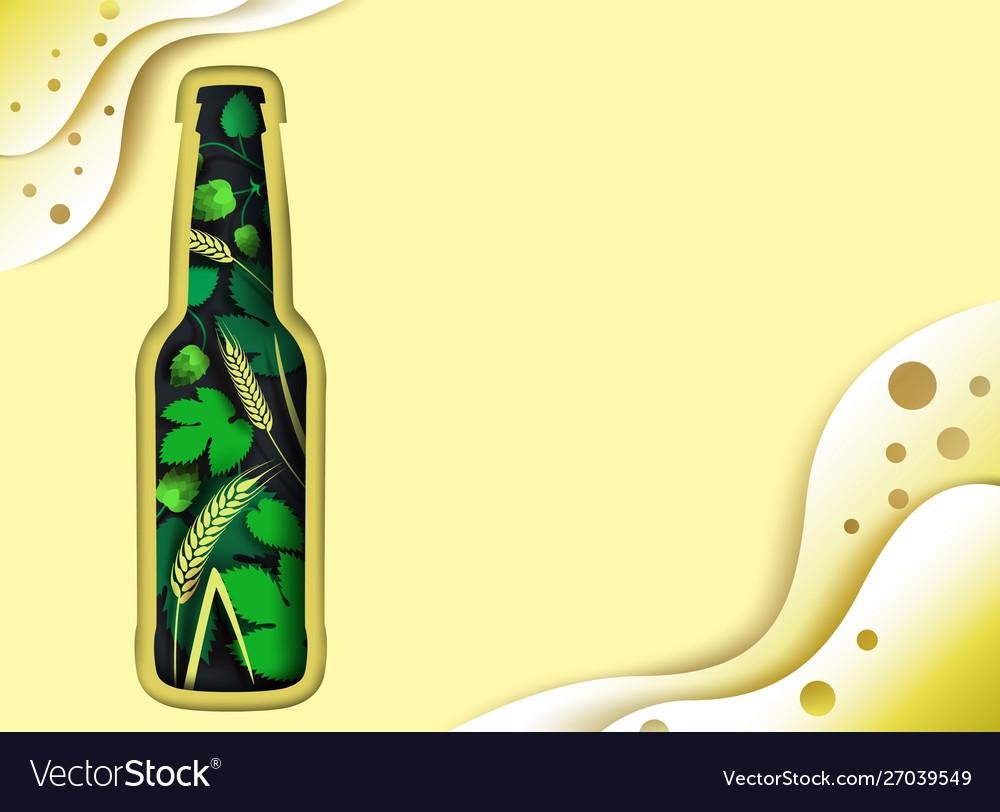 Beer poster design template paper cut