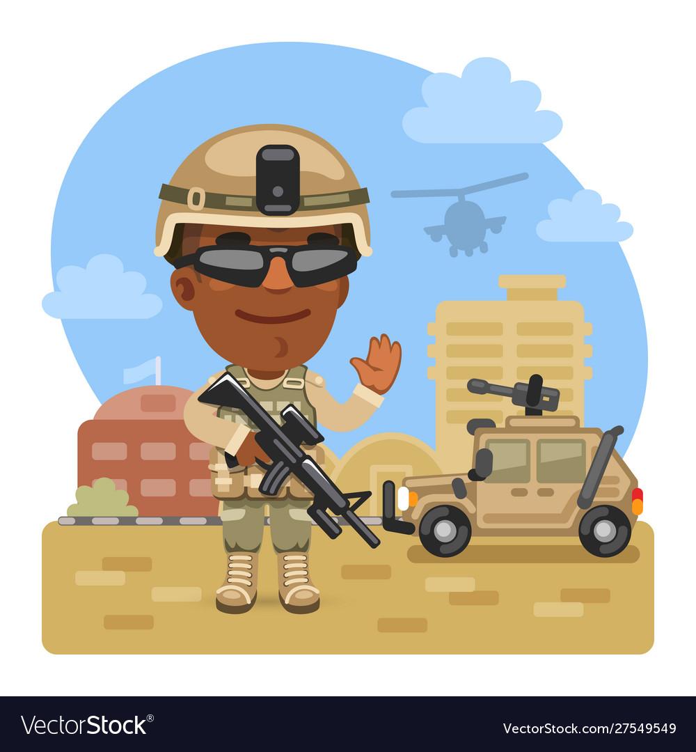 Cartoon soldier at military base