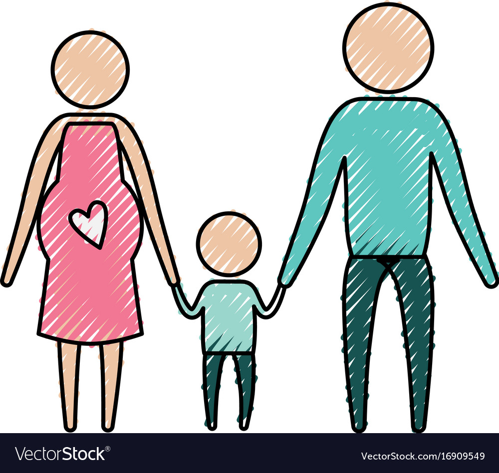Color crayon silhouette pictogram parents with