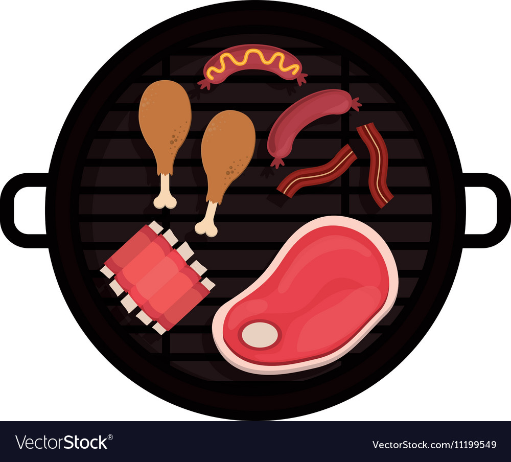 Food grilled chicken meat sausage rib vector image