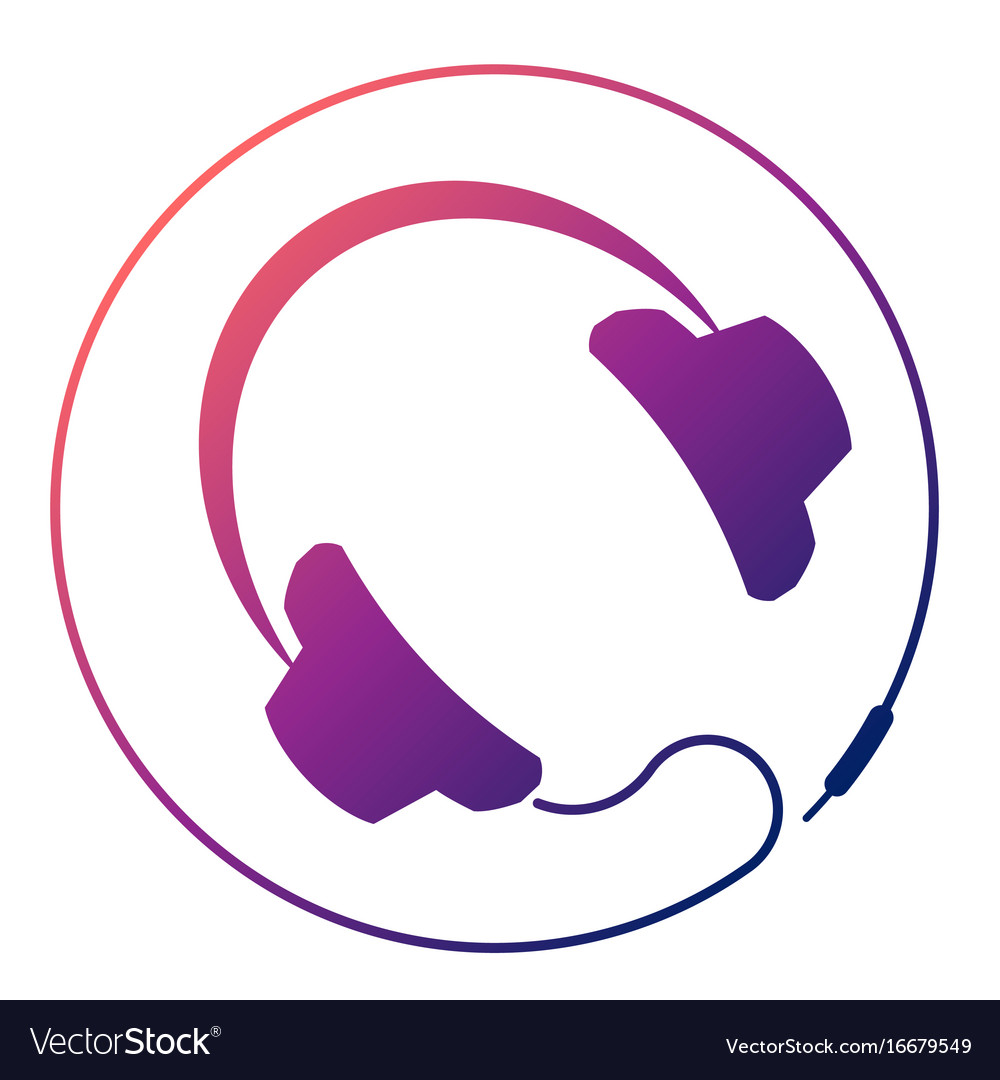 Headphones round icon