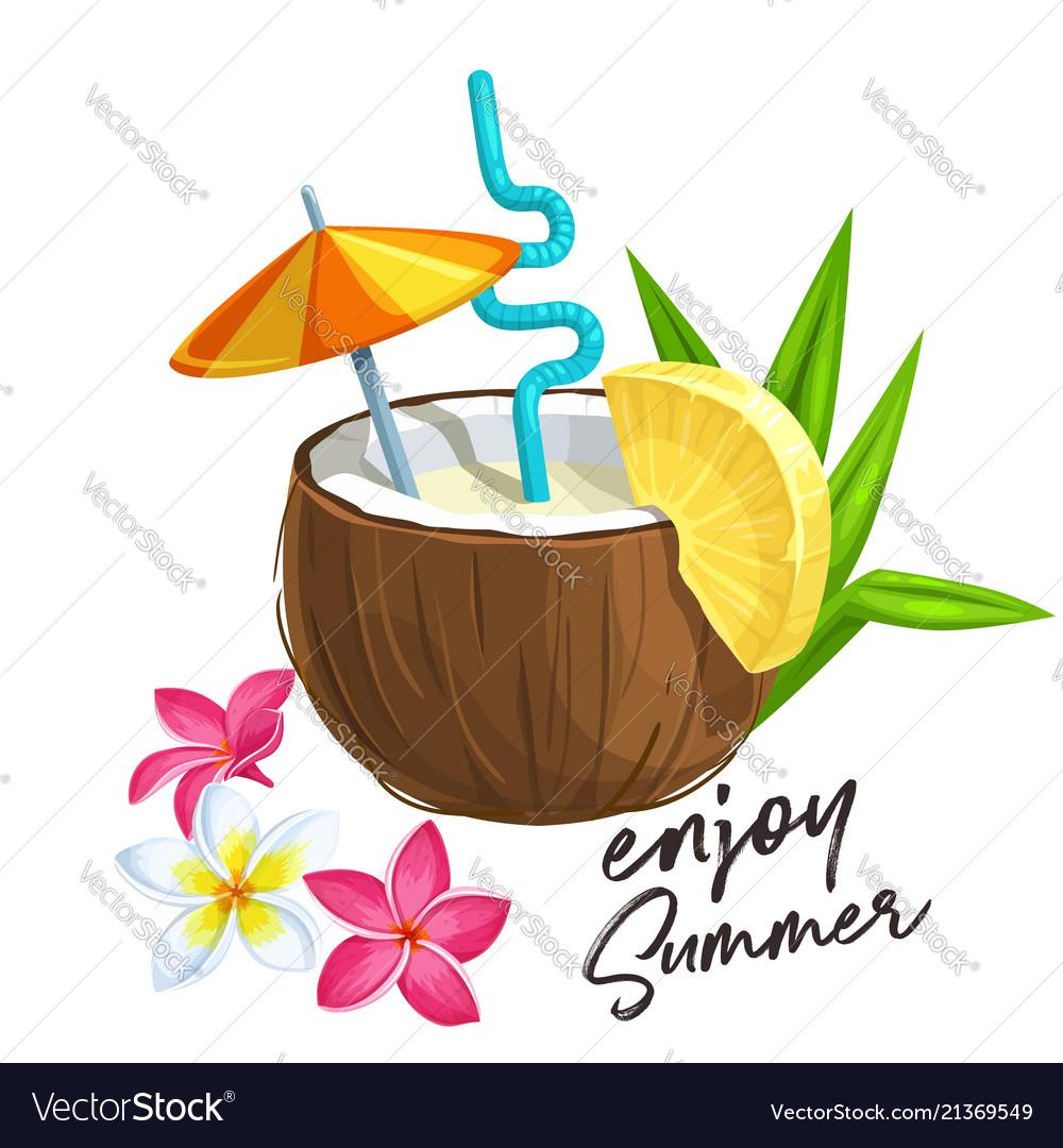 Pina colada cocktail in coconut