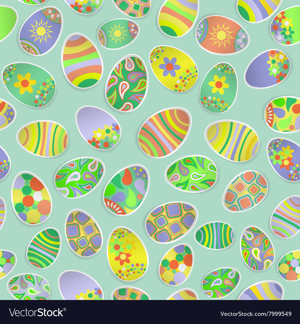 Seamless pattern of paper Easter eggs