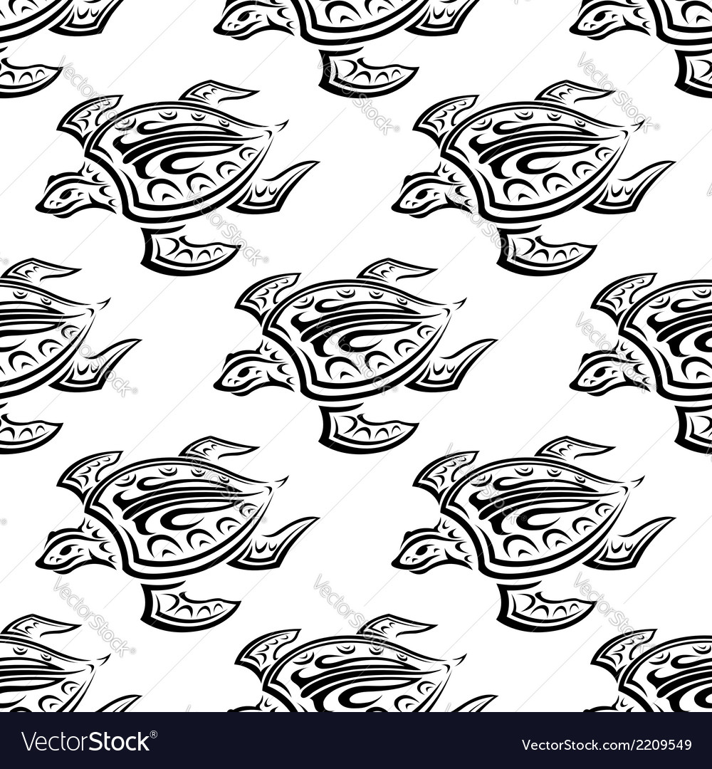 Seamless pattern of swimming turtles