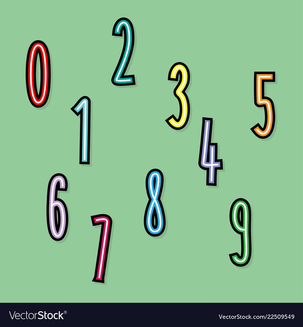 Set colorful numbers cartoon kids figures number