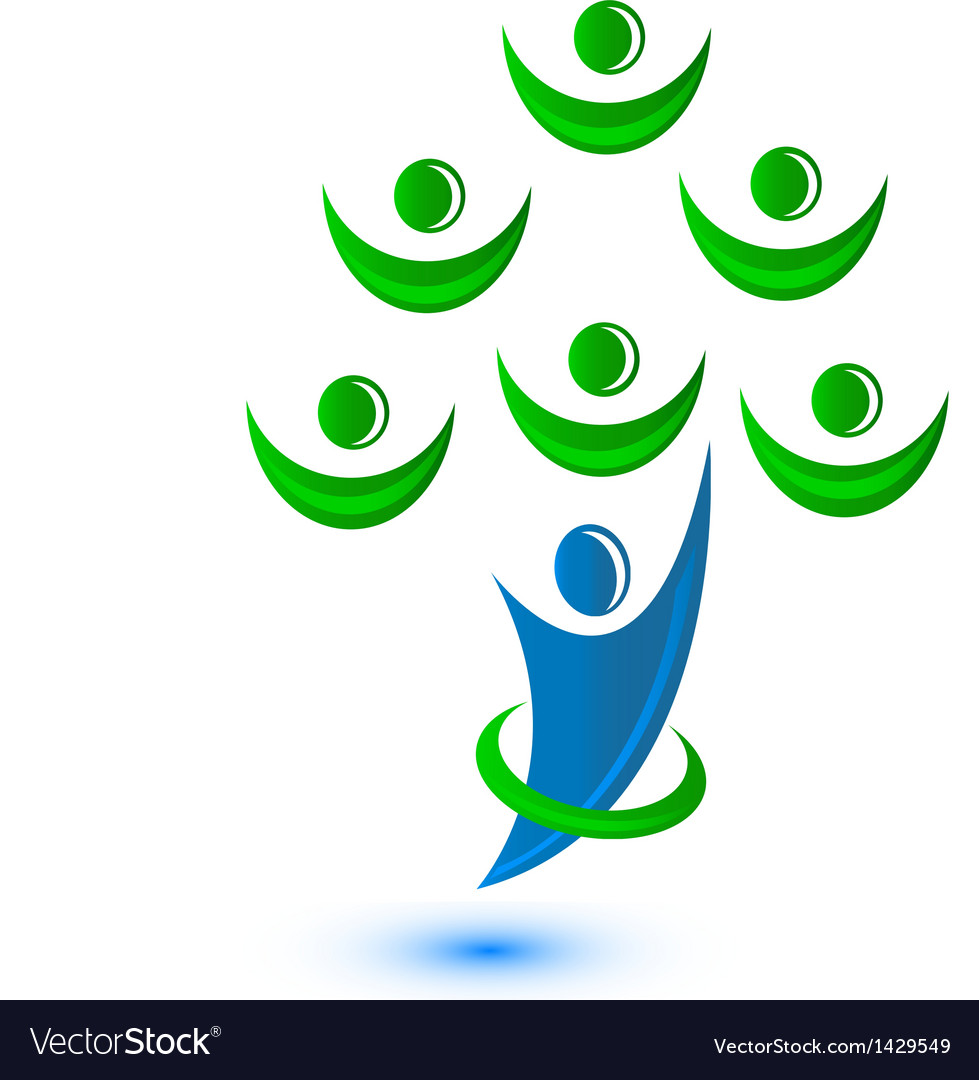Teamwork group of people as a tree-logo