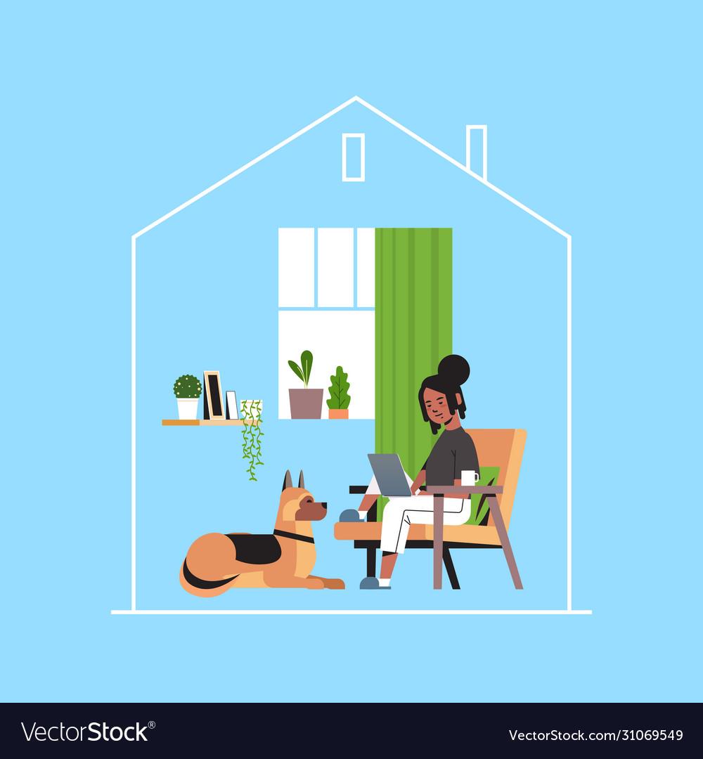 Woman freelancer using laptop working at home