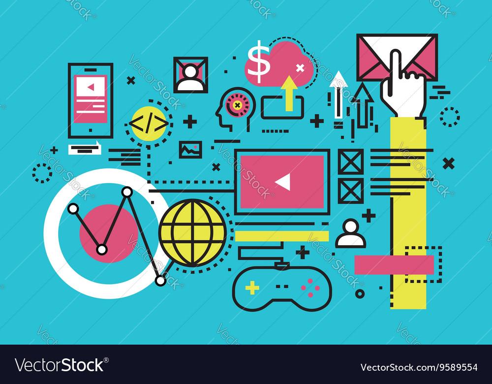 Analytics mobile cloud computing line flat design vector image