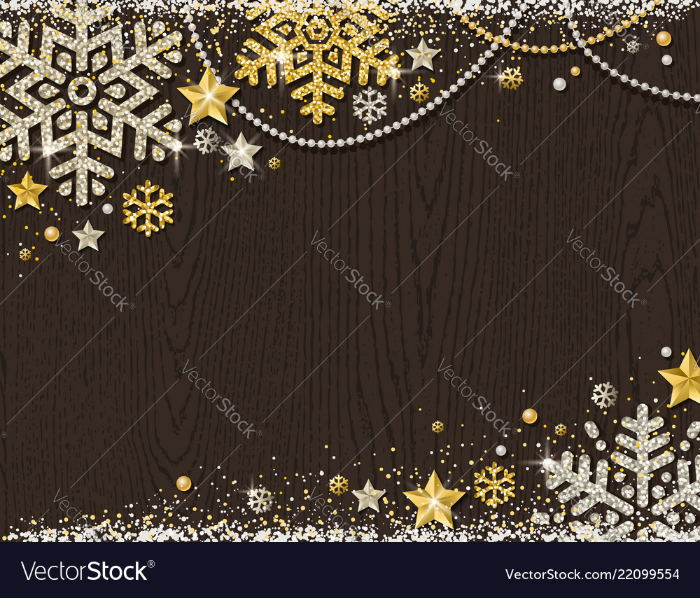 Brown christmas wooden background with frame of
