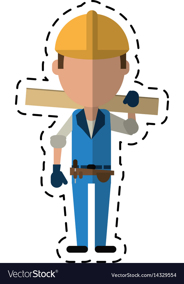 Cartoon man construction wooden board and tool