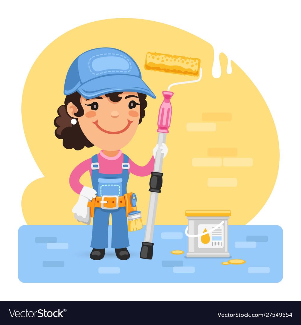 Cartoon painter girl