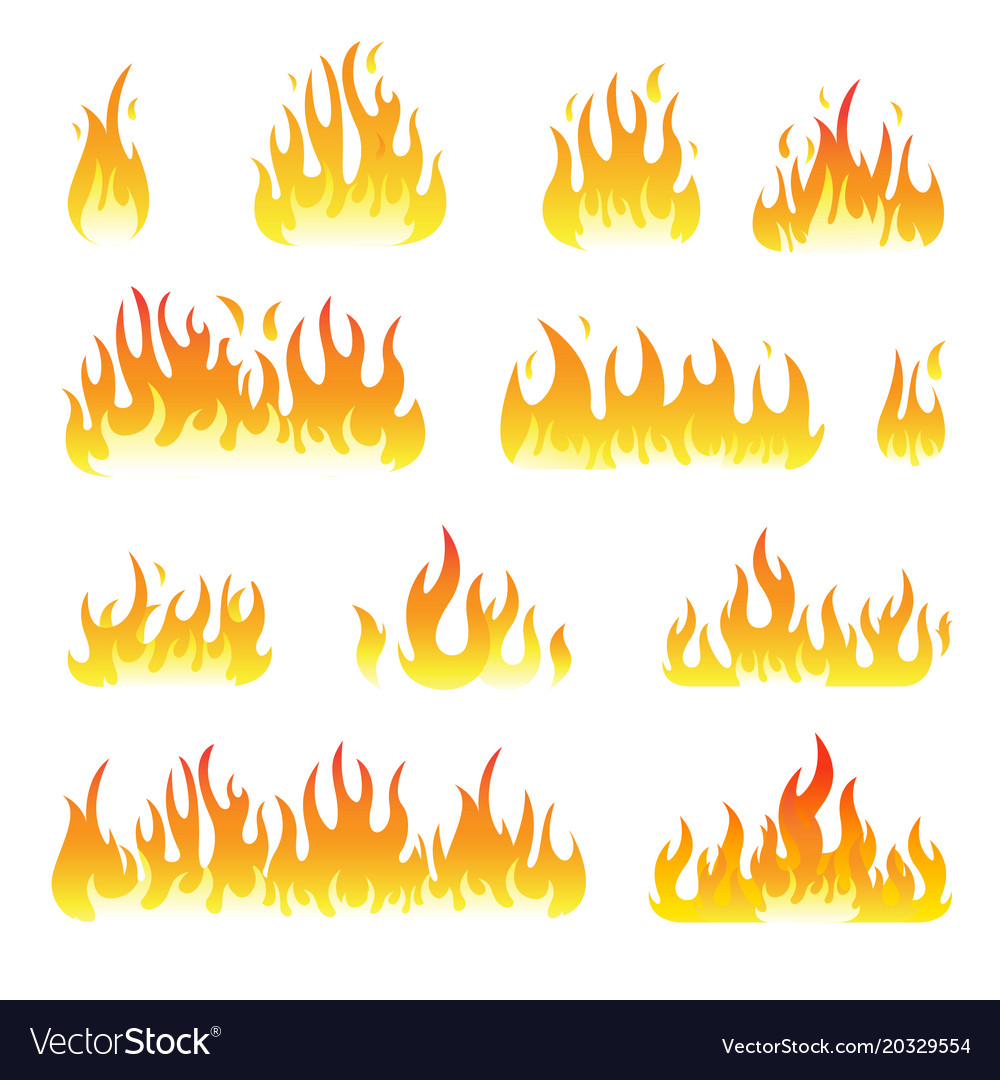 Fire flames set isolated on white vector image