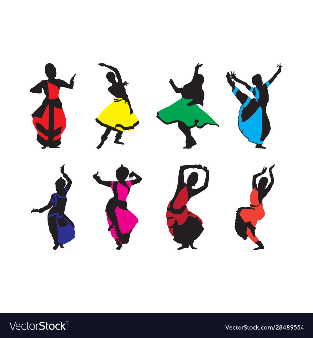 Free navratri dance silhouettes set vector
