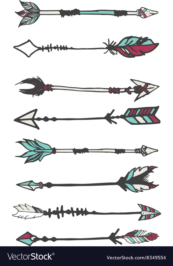 Hand drawn boho arrows with tribal decoration vector image