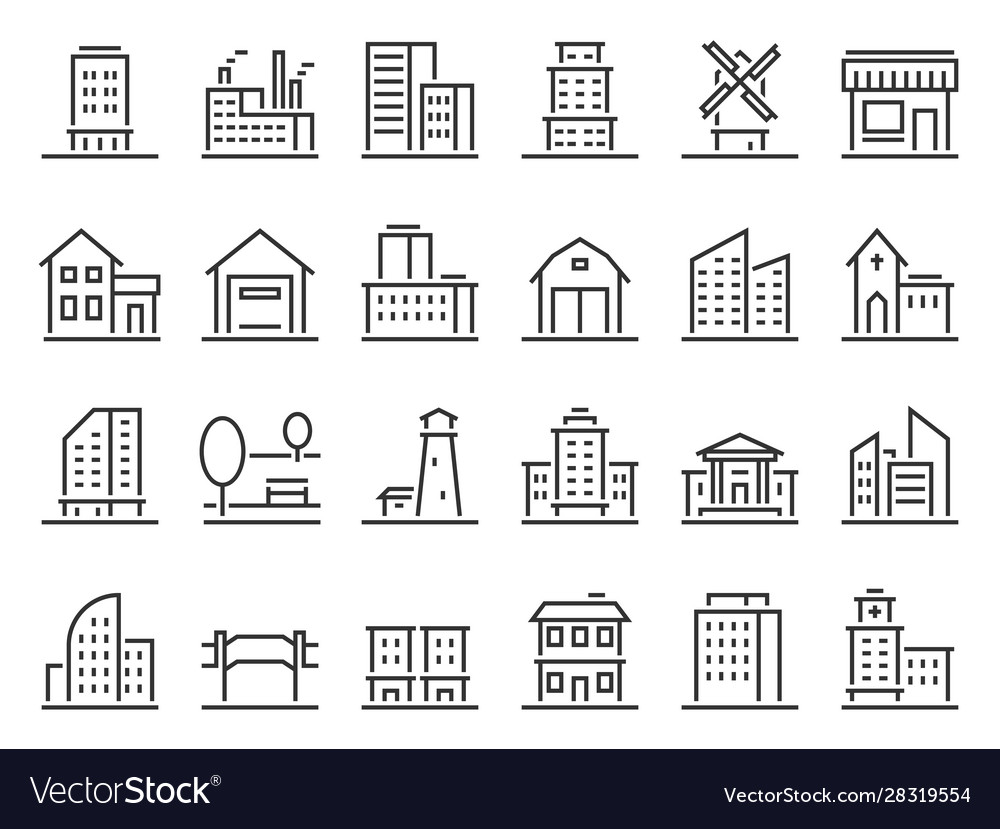 Line buildings icons city building hotel and