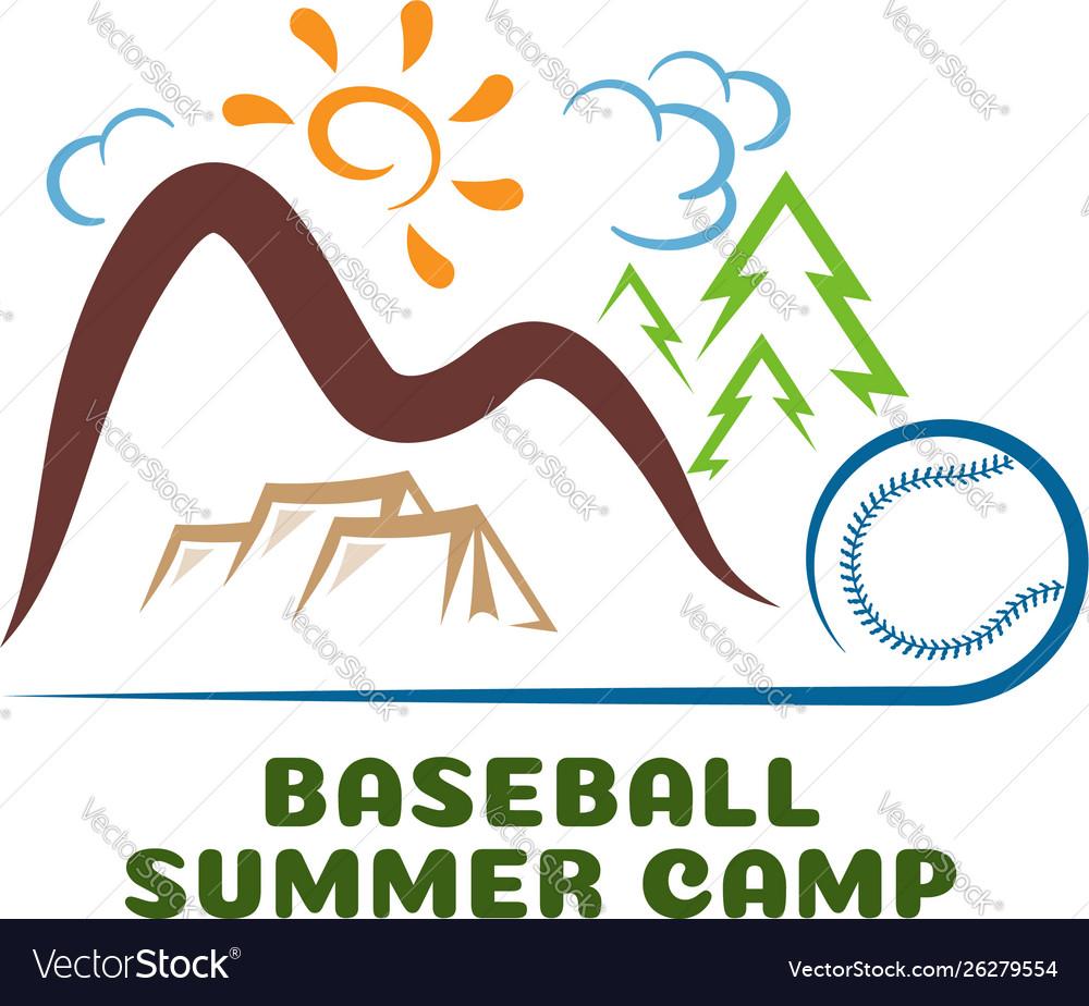 Logo baseball summar camp fun cartoon logo