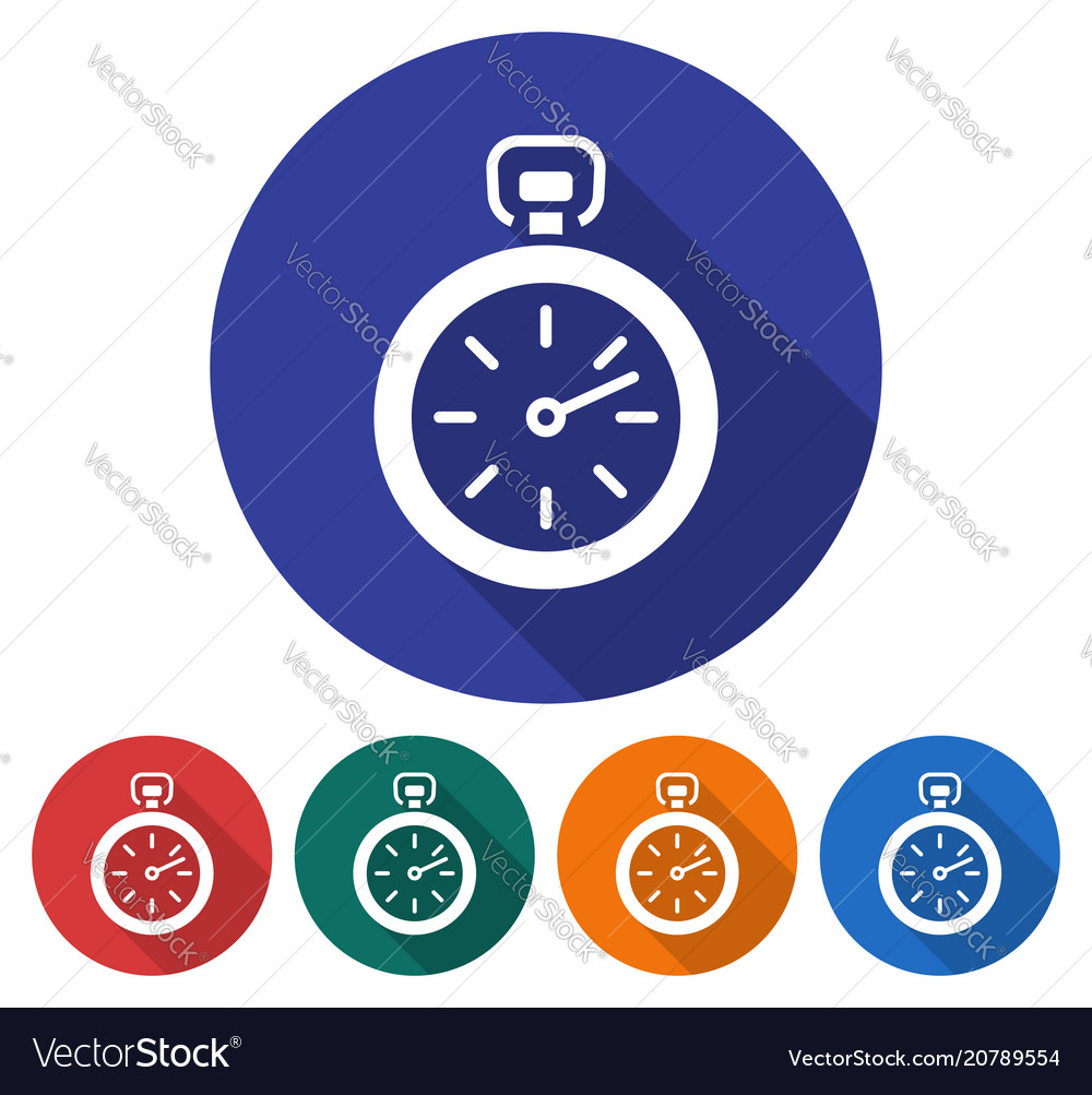 Round icon of stopwatch flat style with long