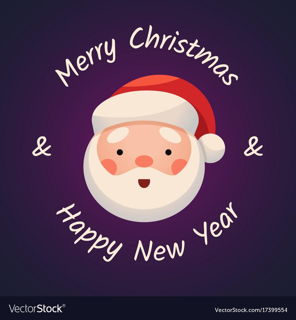 Santa claus face on dark background sticker jolly