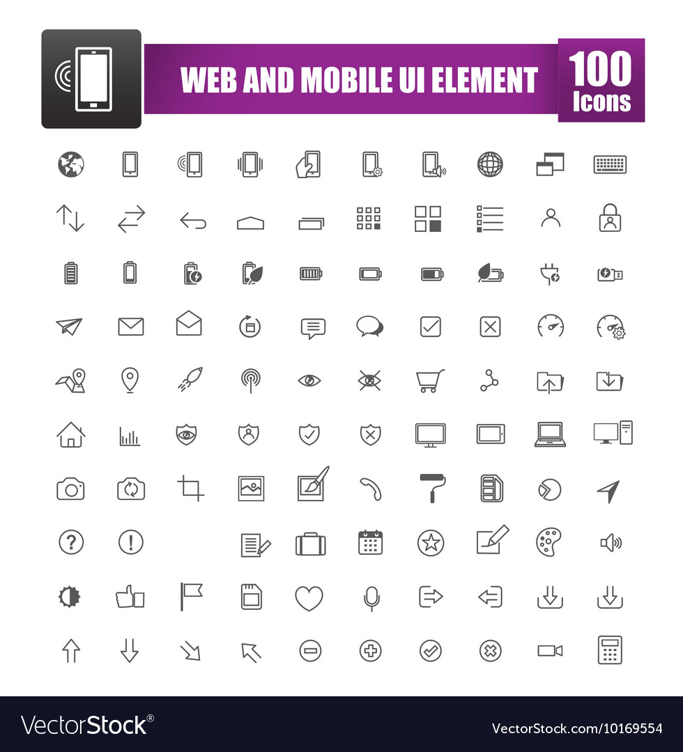 Set of 100 icon for web and mobile smart phone ui vector image