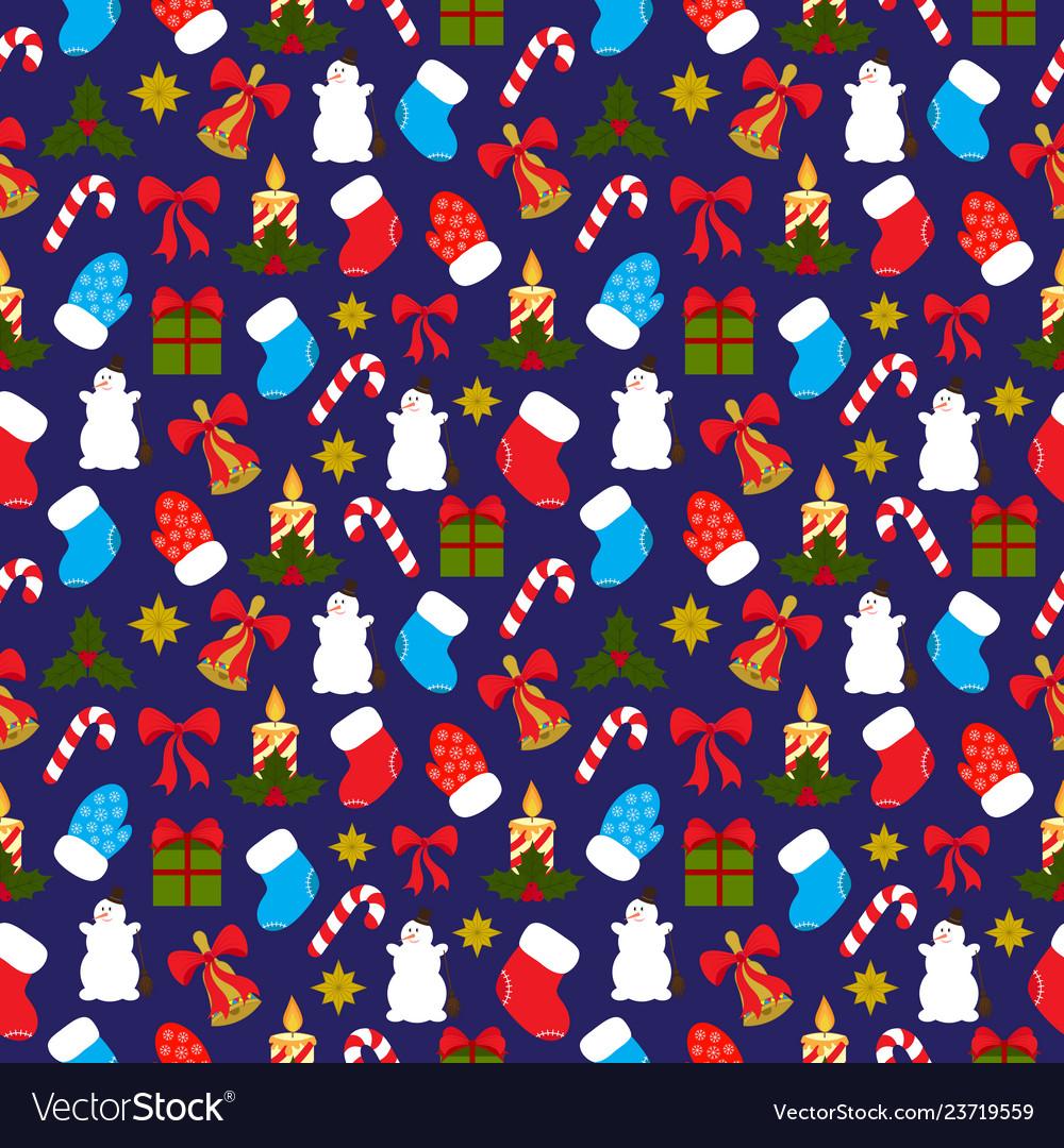 Christmas seamless pattern on dark blue background