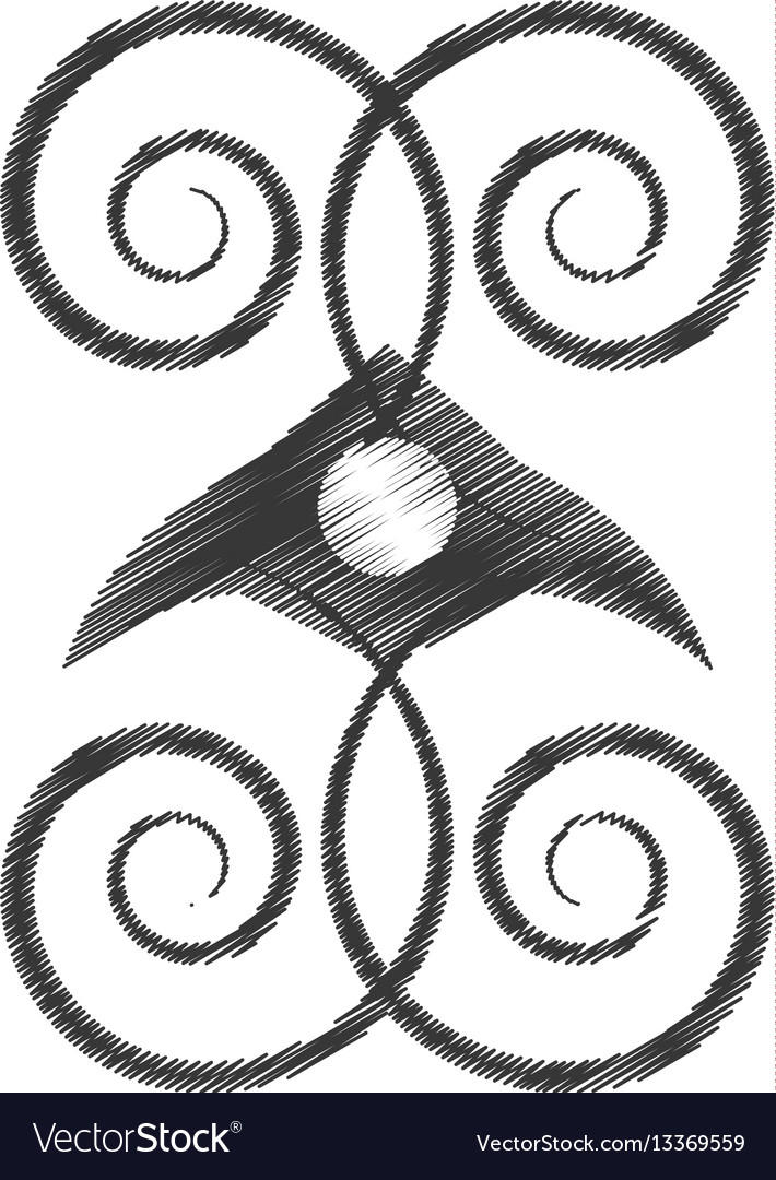 Drawing decorate ornate style object vector image