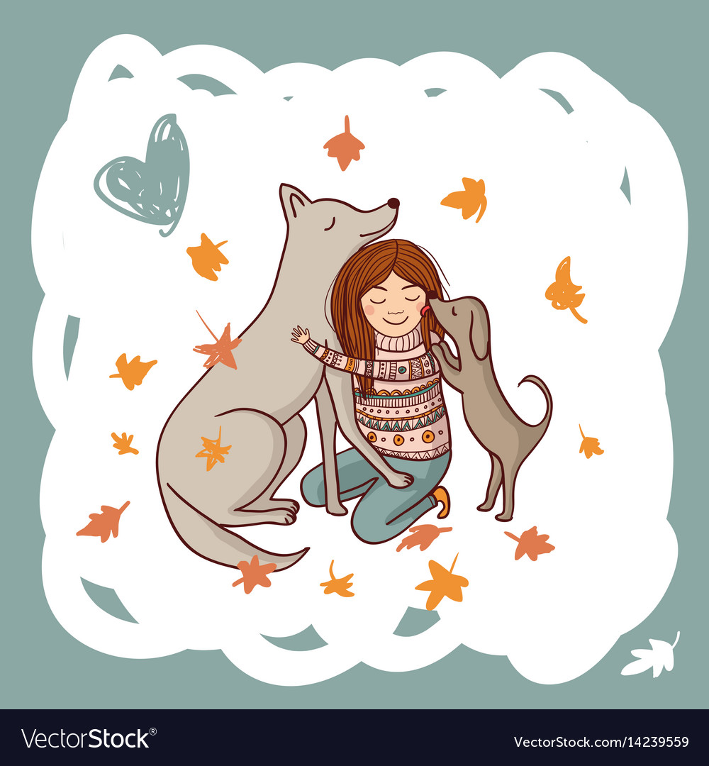 Girl with dogs in autumn