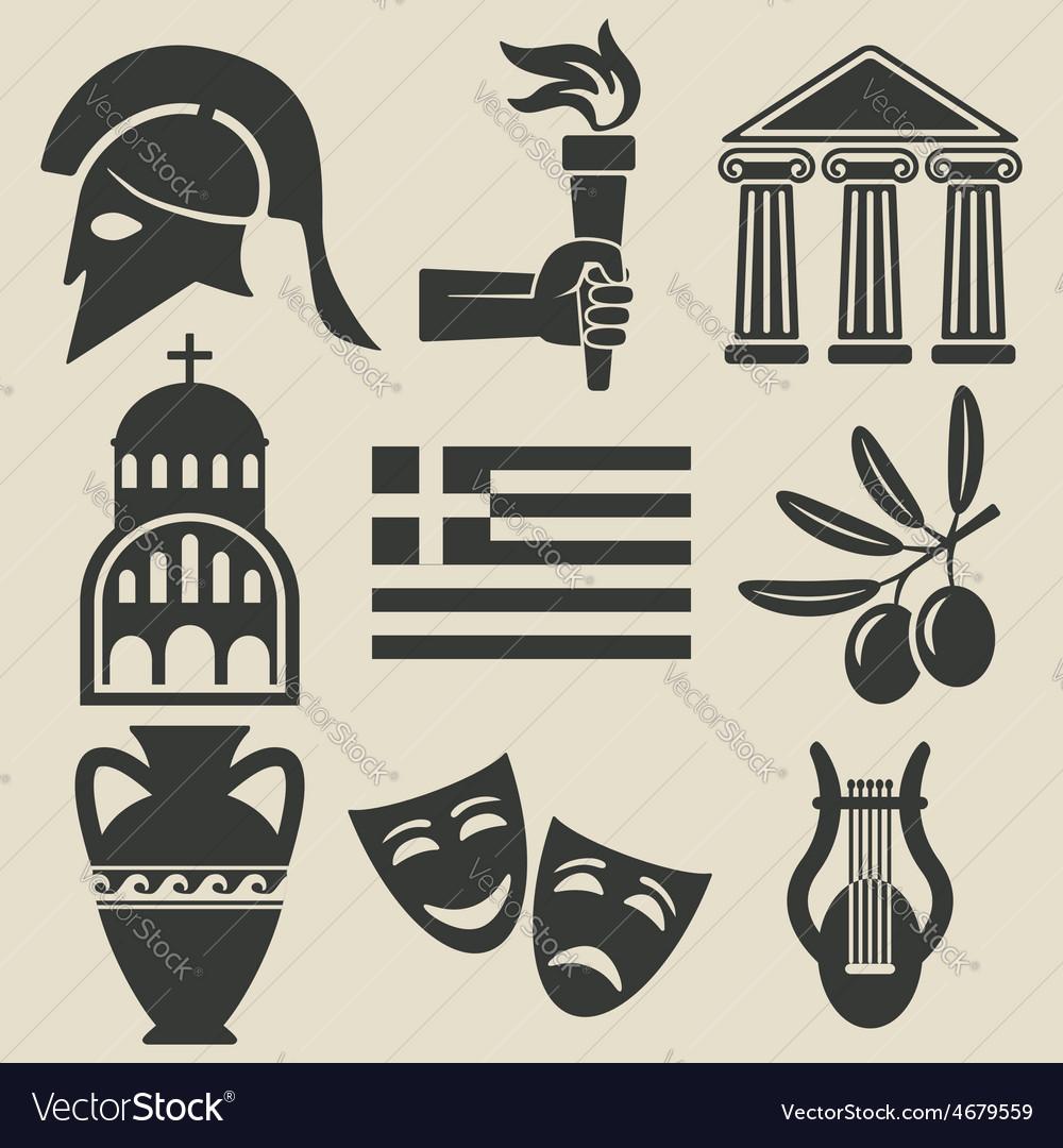 Greece symbol icons set