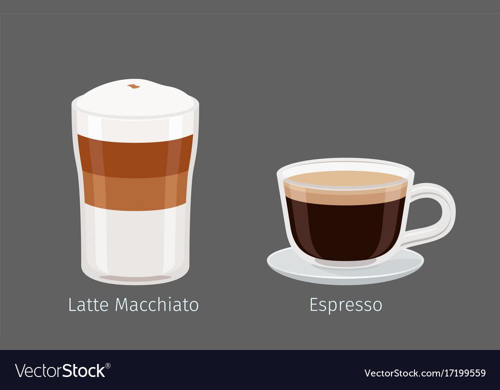Latte macchiato and espresso coffee