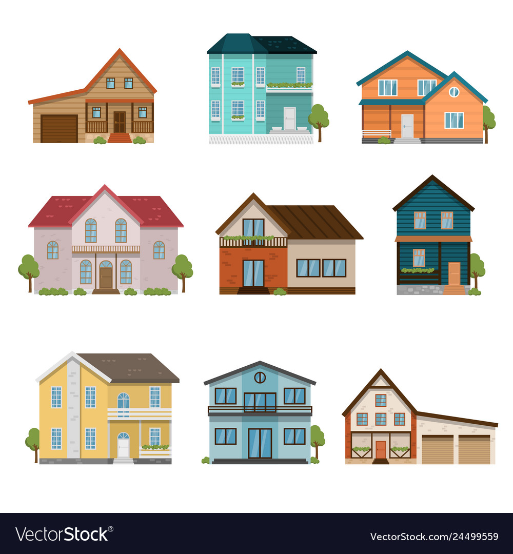 Set of houses front view icons isolated on white