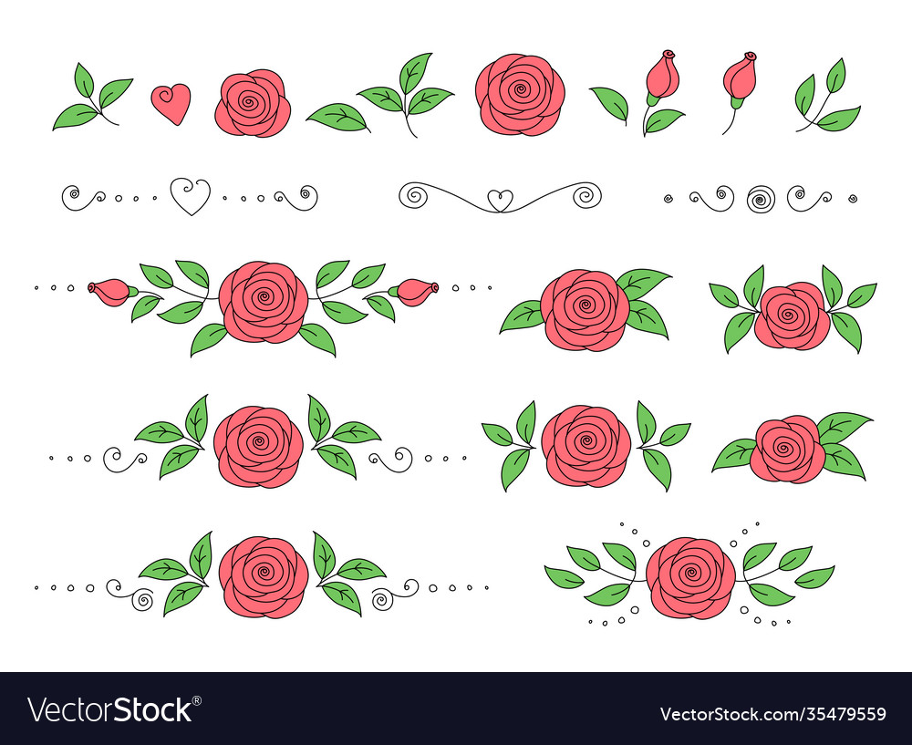 Set pink roses with green leaves